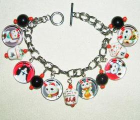 MANEKI Neko Lucky Fortune Money Cat CHARM BRACELET