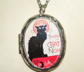 CHAT NOIR Necklace LOCKET Pendant Photo Holder Vintage Illustration French Black Cat