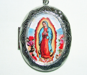VIRGIN Of GUADALUPE Necklace LOCKET Pendant Photo Holder Vintage Illustration
