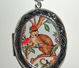 MONKEY on BRANCH Necklace LOCKET Pendant Illustration