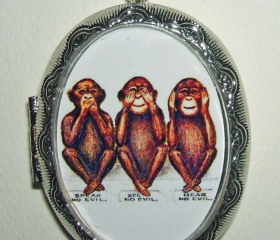 NO EVIL MONKEYS Necklace Locket Pendant Three Wise Monkeys Vintage Illustration