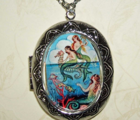 MERMAID Necklace LOCKET Mermaids Pendant Photo Holder Vintage Illustration