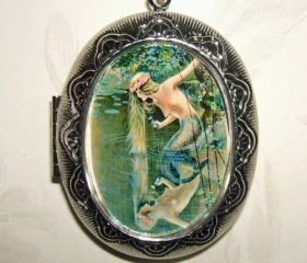 MERMAID Necklace LOCKET Mermaids Reflection Pond Pendant Photo Holder
