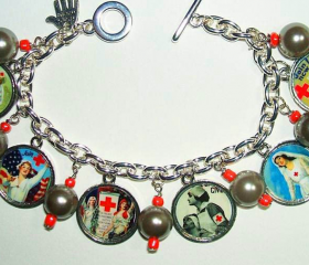 NURSE CHARM BRACELET Vintage Nursing Posters Altered Art Jewelry