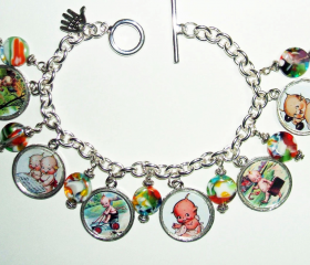 Vintage KEWPIE Doll Postcard CHARM BRACELET Altered Art