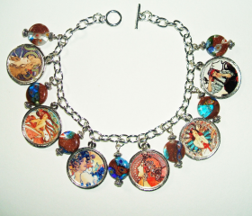 ALPHONSE MUCHA Charm Bracelet ART NOUVEAU Illustrations Artist Tribute