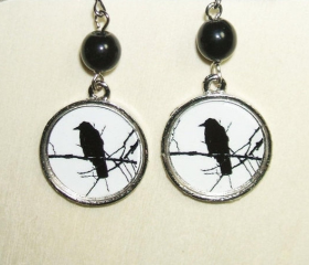 CROW on a BRANCH Earrings Black Bird Altered Art Charms Pierced Earrings