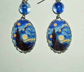 Van Gogh STARRY NIGHT Earrings Charm Dangle with Glass Beads