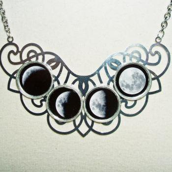 MOON PHASES Necklace Moon Goddess Statement Altered Art Jewelry Celestial ORIGINAL Design